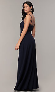 Image of deep-v-neck navy blue long formal dress by Simply. Style: MCR-SD-2804 Back Image