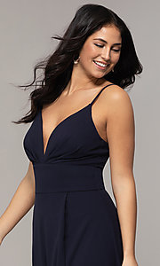 Image of deep-v-neck navy blue long formal dress by Simply. Style: MCR-SD-2804 Detail Image 1