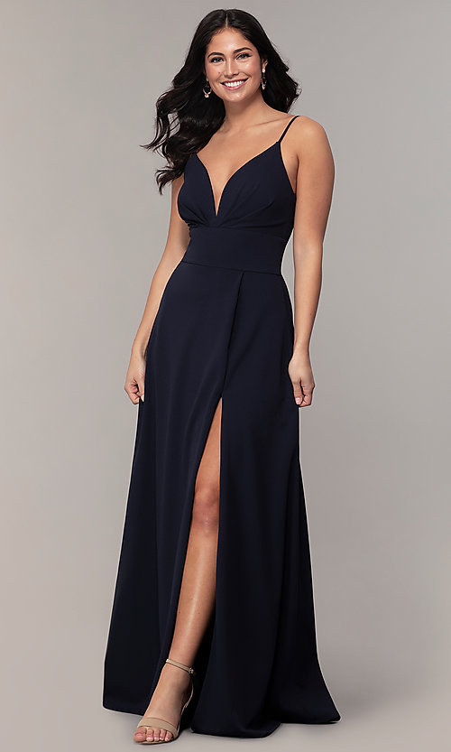 Image of deep-v-neck navy blue long formal dress by Simply. Style: MCR-SD-2804 Front Image