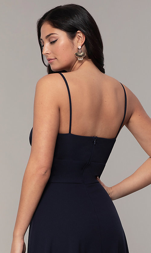 Image of deep-v-neck navy blue long formal dress by Simply. Style: MCR-SD-2804 Detail Image 2