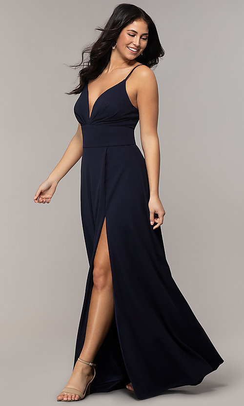 Image of deep-v-neck navy blue long formal dress by Simply. Style: MCR-SD-2804 Detail Image 3