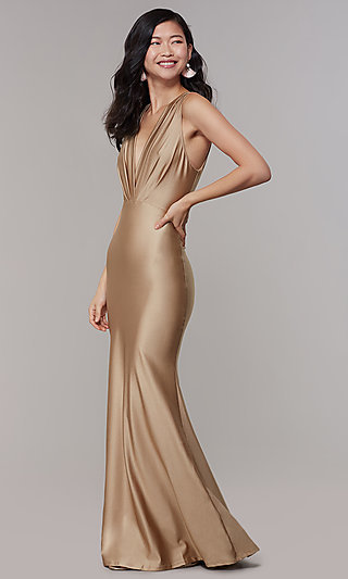 V-Neck Pleated-Bodice Long Formal Dress by Simply