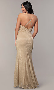 Image of long metallic-jersey formal prom dress by Simply. Style: MCR-SD-2645 Detail Image 5