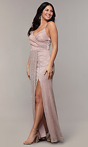 Image of long metallic-jersey formal prom dress by Simply. Style: MCR-SD-2645 Front Image
