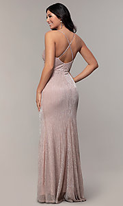 Image of long metallic-jersey formal prom dress by Simply. Style: MCR-SD-2645 Back Image