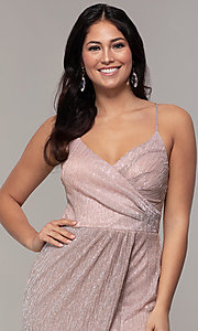 Image of long metallic-jersey formal prom dress by Simply. Style: MCR-SD-2645 Detail Image 1