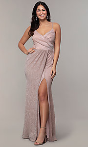 Image of long metallic-jersey formal prom dress by Simply. Style: MCR-SD-2645 Detail Image 3