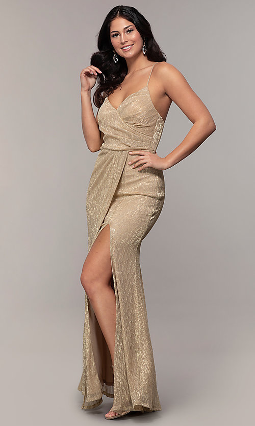 Image of long metallic-jersey formal prom dress by Simply. Style: MCR-SD-2645 Detail Image 4