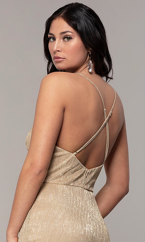 Image of long metallic-jersey formal prom dress by Simply. Style: MCR-SD-2645 Detail Image 7