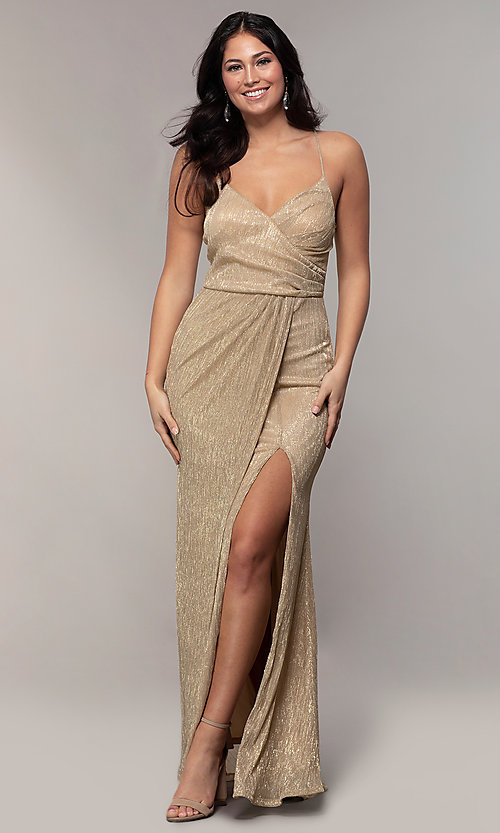 Image of long metallic-jersey formal prom dress by Simply. Style: MCR-SD-2645 Detail Image 8