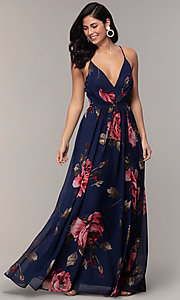 Image of long v-neck floral-print prom dress by Simply. Style: MCR-SD-2801 Detail Image 3