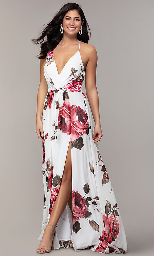 Image of long v-neck floral-print prom dress by Simply. Style: MCR-SD-2801 Front Image