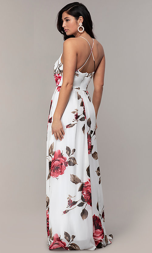 Image of long v-neck floral-print prom dress by Simply. Style: MCR-SD-2801 Back Image