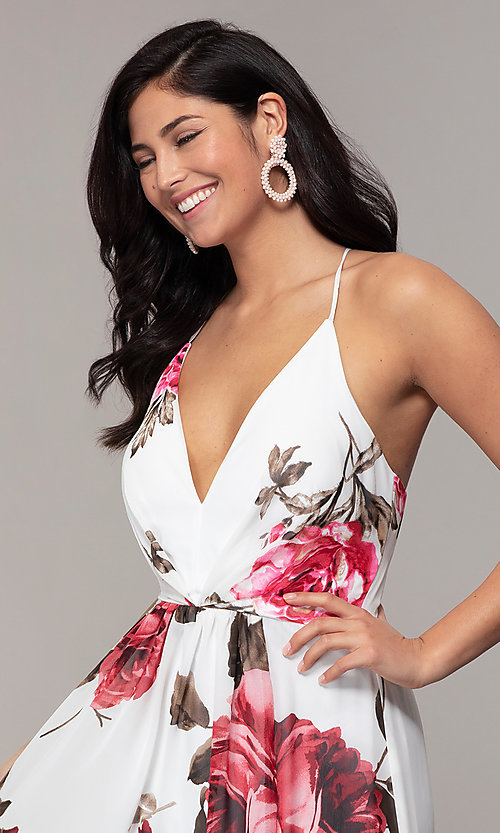 Image of long v-neck floral-print prom dress by Simply. Style: MCR-SD-2801 Detail Image 1
