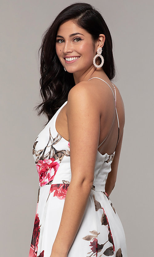 Image of long v-neck floral-print prom dress by Simply. Style: MCR-SD-2801 Detail Image 2