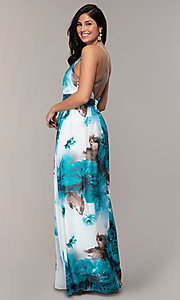 Image of watercolor-print long v-neck formal dress by Simply. Style: MCR-SD-2809 Back Image