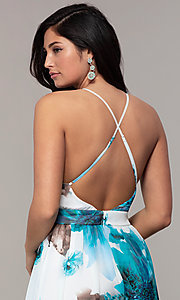 Image of watercolor-print long v-neck formal dress by Simply. Style: MCR-SD-2809 Detail Image 2