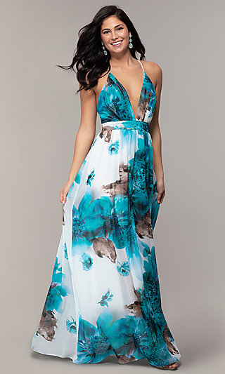 Watercolor-Print Long V-Neck Formal Dress by Simply