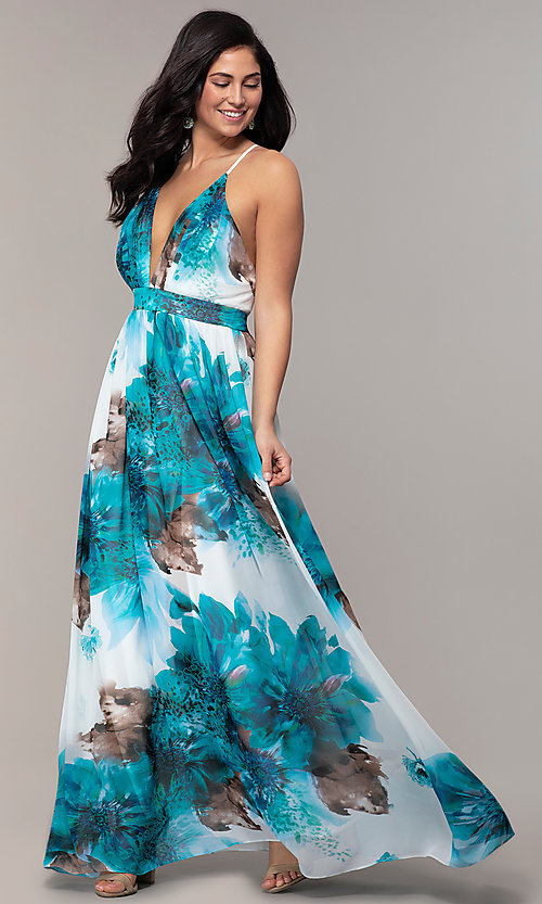 Image of watercolor-print long v-neck formal dress by Simply. Style: MCR-SD-2809 Detail Image 3