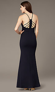 Image of triangle-high-neck long navy formal dress by Simply. Style: MCR-SD-2704 Back Image