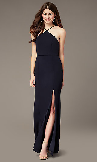 Triangle-High-Neck Long Navy Formal Dress by Simply