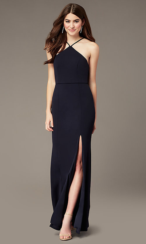 Image of triangle-high-neck long navy formal dress by Simply. Style: MCR-SD-2704 Front Image