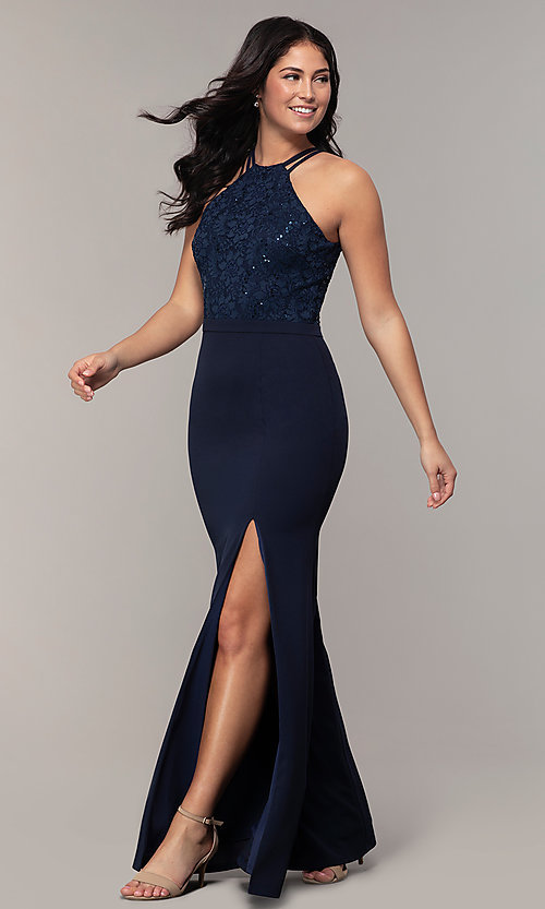 Image of long sequin-lace-bodice formal prom dress by Simply. Style: MCR-SD-2702 Front Image