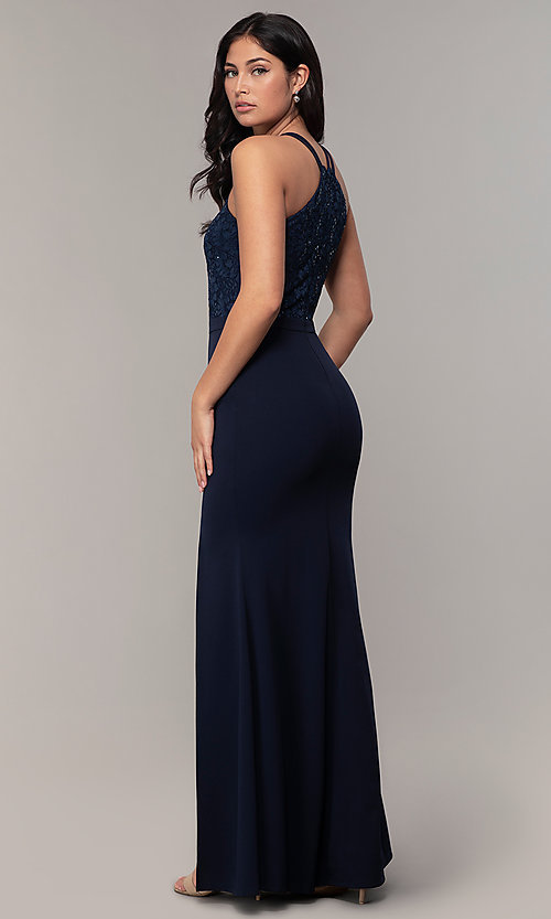 Image of long sequin-lace-bodice formal prom dress by Simply. Style: MCR-SD-2702 Back Image