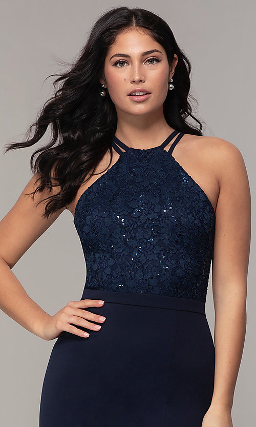 Image of long sequin-lace-bodice formal prom dress by Simply. Style: MCR-SD-2702 Detail Image 1