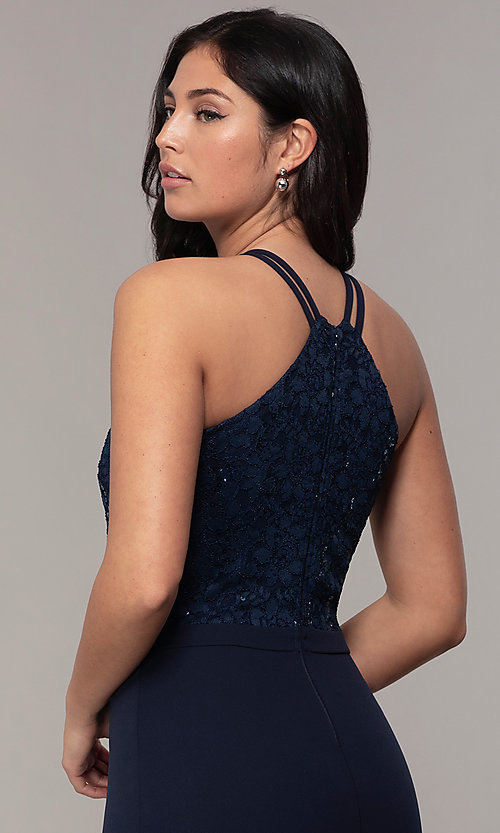 Image of long sequin-lace-bodice formal prom dress by Simply. Style: MCR-SD-2702 Detail Image 2