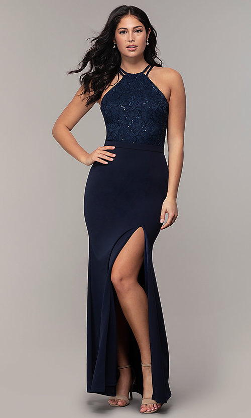 Image of long sequin-lace-bodice formal prom dress by Simply. Style: MCR-SD-2702 Detail Image 3