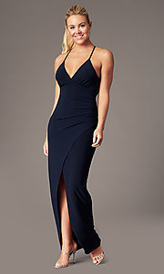 Image of lace-back long v-neck formal dress by Simply. Style: MCR-SD-2703 Detail Image 3