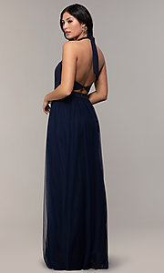 Image of halter illusion-sweetheart long prom dress by Simply Style: MCR-SD-3074 Detail Image 5