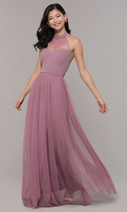 Image of halter illusion-sweetheart long prom dress by Simply Style: MCR-SD-3074 Front Image