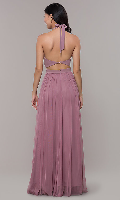 Image of halter illusion-sweetheart long prom dress by Simply Style: MCR-SD-3074 Back Image