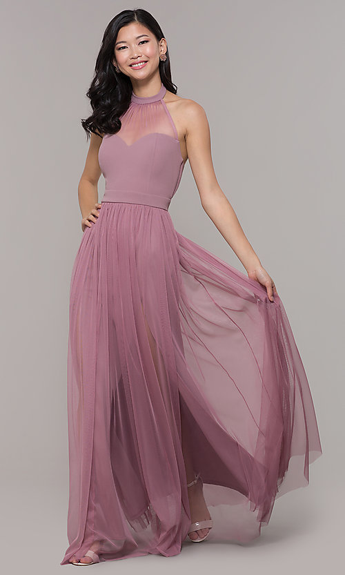 Image of halter illusion-sweetheart long prom dress by Simply Style: MCR-SD-3074 Detail Image 3