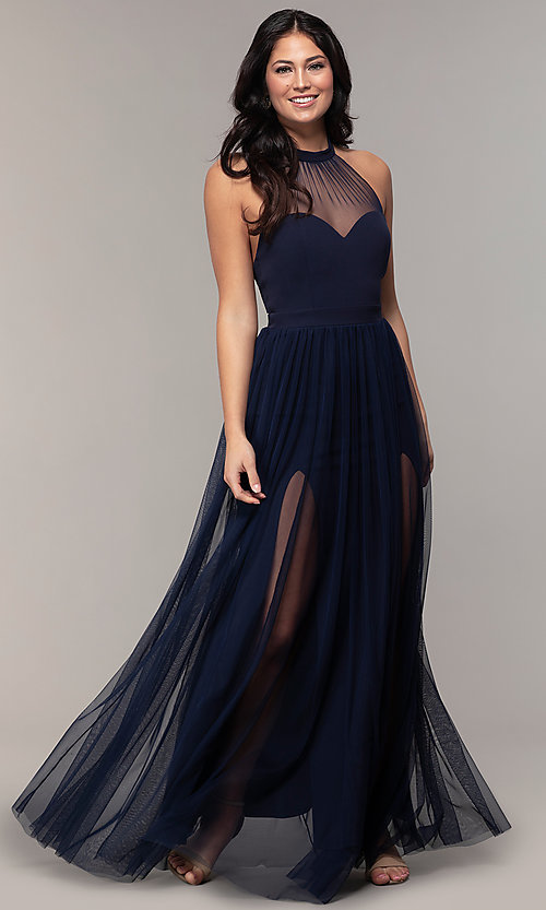 Image of halter illusion-sweetheart long prom dress by Simply Style: MCR-SD-3074 Detail Image 4