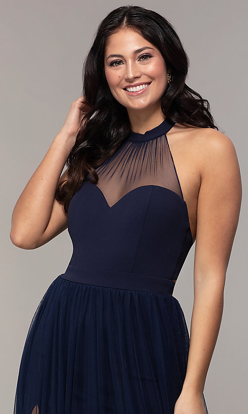 Image of halter illusion-sweetheart long prom dress by Simply Style: MCR-SD-3074 Detail Image 6