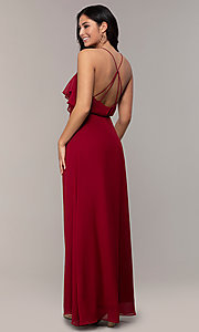 Image of ruffled chiffon v-neck long Simply prom dress.  Style: MCR-SD-3075 Back Image