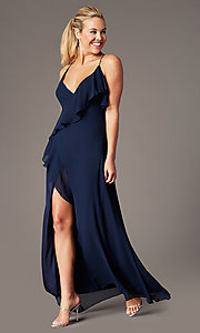 Image of ruffled chiffon v-neck long Simply prom dress.  Style: MCR-SD-3075 Front Image