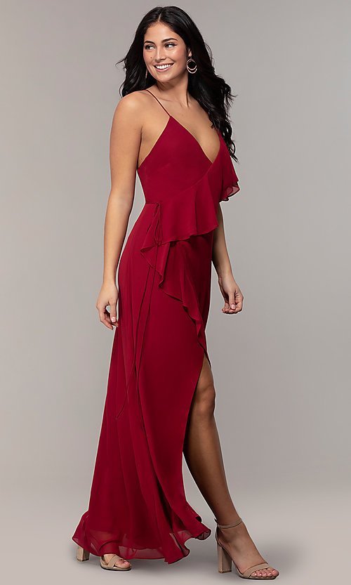 Image of ruffled chiffon v-neck long Simply prom dress.  Style: MCR-SD-3075 Detail Image 3