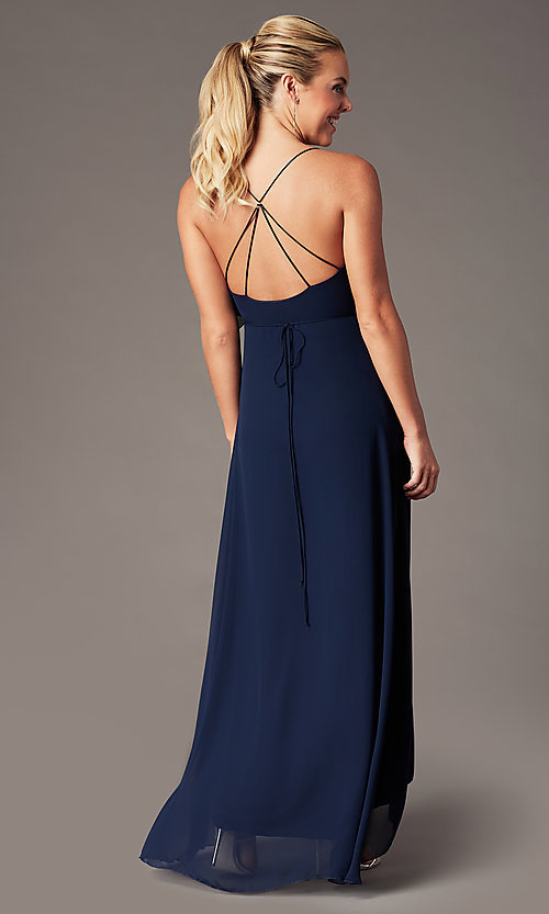 Image of ruffled chiffon v-neck long Simply prom dress.  Style: MCR-SD-3075 Detail Image 5