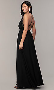 Image of open-back long black chiffon formal dress by Simply. Style: MCR-SD-2706 Back Image