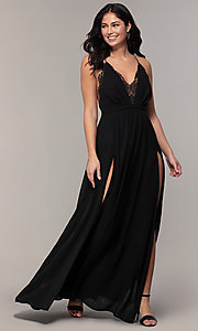 Image of open-back long black chiffon formal dress by Simply. Style: MCR-SD-2706 Detail Image 3