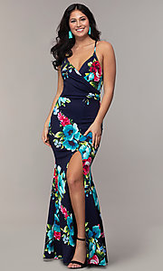 Image of backless floral-print v-neck prom dress by Simply. Style: MCR-SD-2666 Front Image