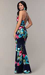 Image of backless floral-print v-neck prom dress by Simply. Style: MCR-SD-2666 Back Image