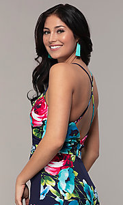 Image of backless floral-print v-neck prom dress by Simply. Style: MCR-SD-2666 Detail Image 2
