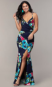 Image of backless floral-print v-neck prom dress by Simply. Style: MCR-SD-2666 Detail Image 3