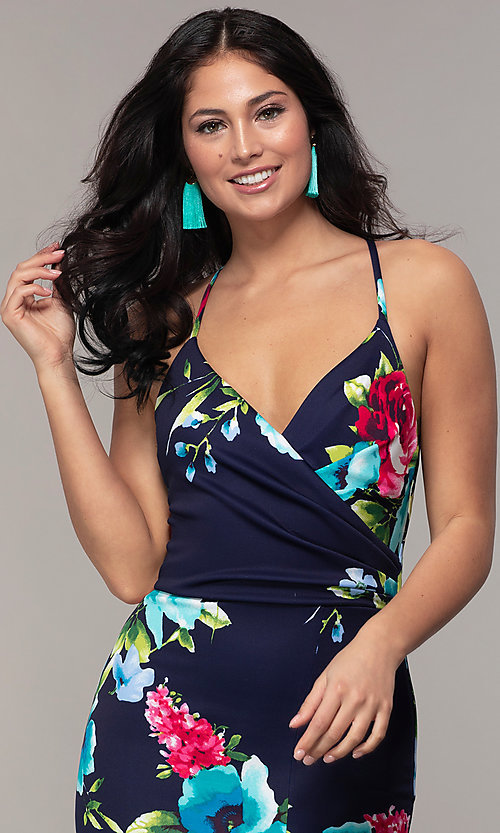 Image of backless floral-print v-neck prom dress by Simply. Style: MCR-SD-2666 Detail Image 1