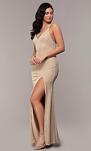 Image of v-neck long glitter jersey formal prom dress. Style: MCR-PL-2800 Front Image